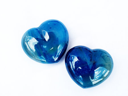 Blue Agate Heart 90g - 2 Flats (48pcs)
