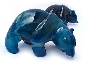 Blue Agate Bear Eating Fish