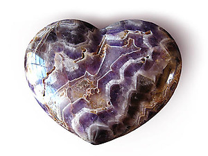 Banded Amethyst Hearts Large 7-8 inch