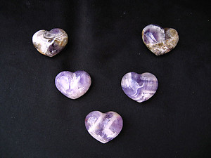 Amethyst Banded Small Jewellery Heart - 5pcs