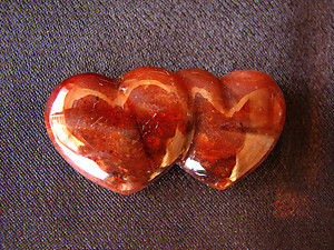 Carnelian Double Heart - 5 Flats (120pcs)