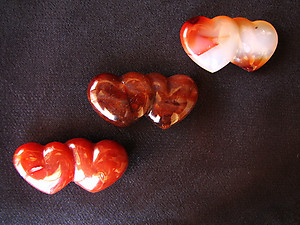 Carnelian Double Heart - 10pcs