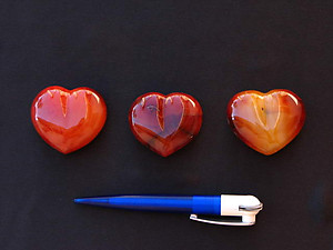 Carnelian Decorative Hearts - 2 flats (48 pcs)