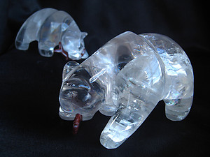 Optical Calcite Bear Eating Fish - 2pcs