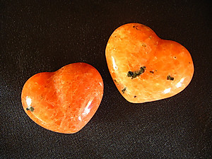 Orange Calcite Small Jewellery Heart
