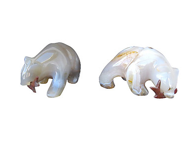 Agate Bear Eating Fish