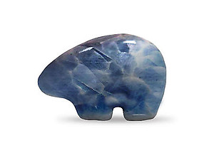 Blue Calcite Fetish Bear Carving