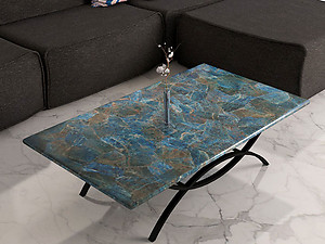 Neon Blue Apatite Table Top (140 x 83 x 3 cm)