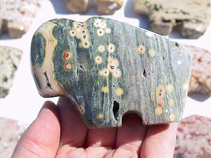 Sea Jasper Fetish Buffalo Carvings