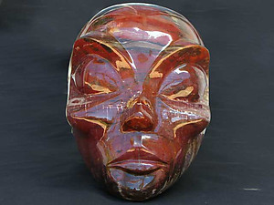 Petrified Wood Alien Face Carving - 25pcs