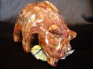 Petrified Wood Bear Eating Fish