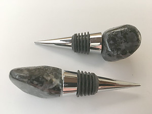 Indigo Gabbro Bottle Stopper - Polished Top