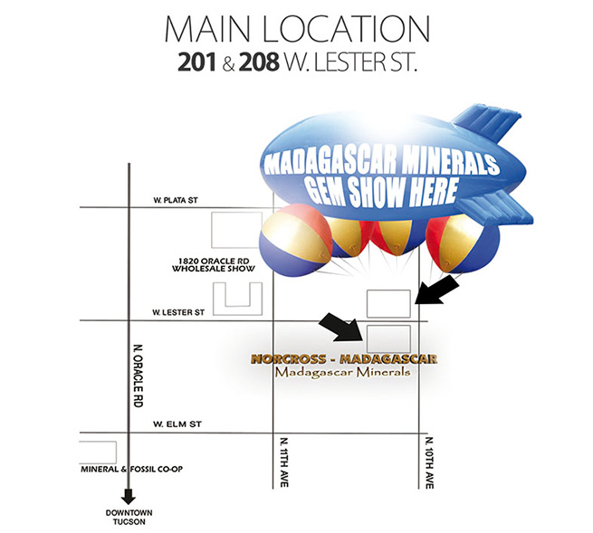 Map to Madagascar Minerals Gem Show