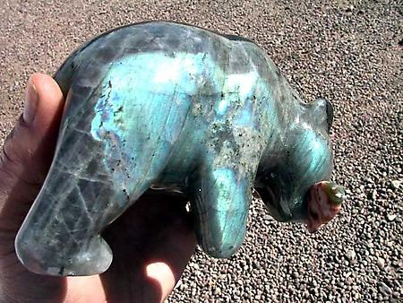 Labradorite Bear Eating Fish