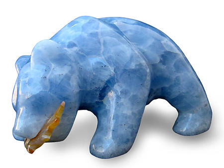 Blue Calcite Bear Eating Fish