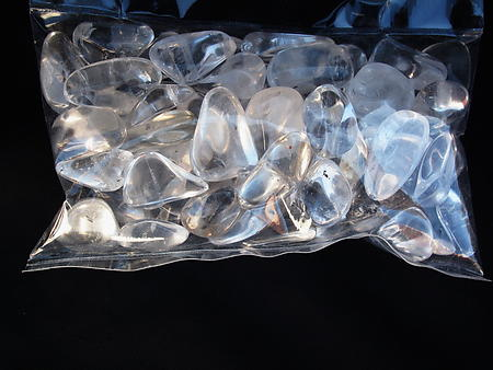 Crystal Quartz Tumbled Stones - Large (30-45mm) AAA >75% Clean - 1LB