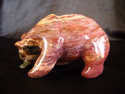 Petrified Wood Bear Eating Fish - 25pcs